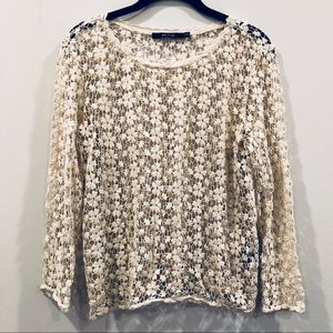 Cream floral crochet blouse